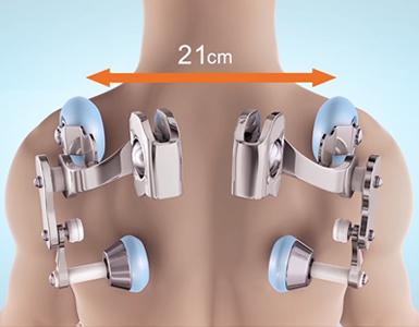 La largeur peut être ajustée entre 6 et 21 cm, avec trois options