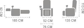 Dimensions du Fauteuil de massage Komoder Albert